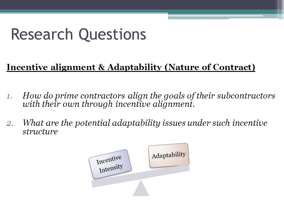 Research Questions Incentive alignment & Adaptability (Nature of Contract)