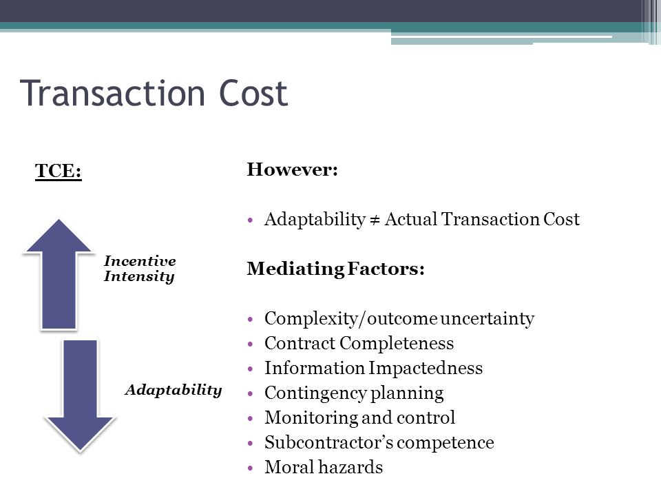 Transaction Cost TCE: However: Adaptability ≠ Actual Transaction Cost