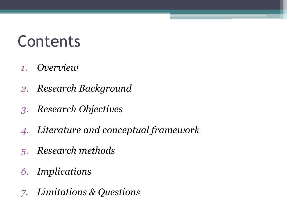 Contents Overview Research Background Research Objectives