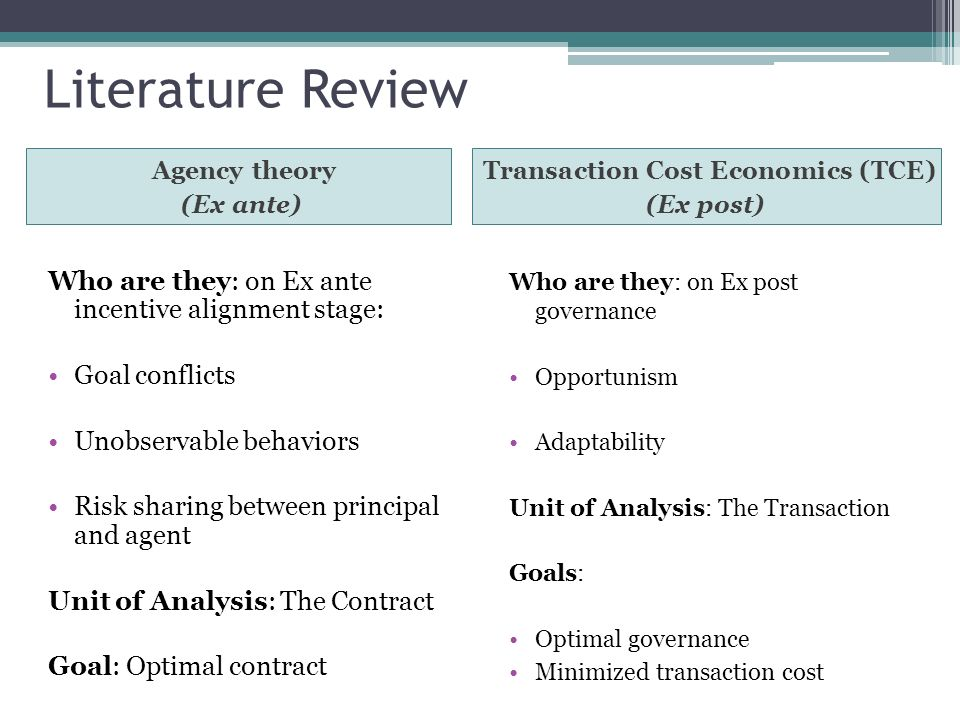 Transaction Cost Economics (TCE)