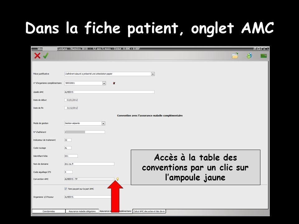 Dans la fiche patient, onglet AMC