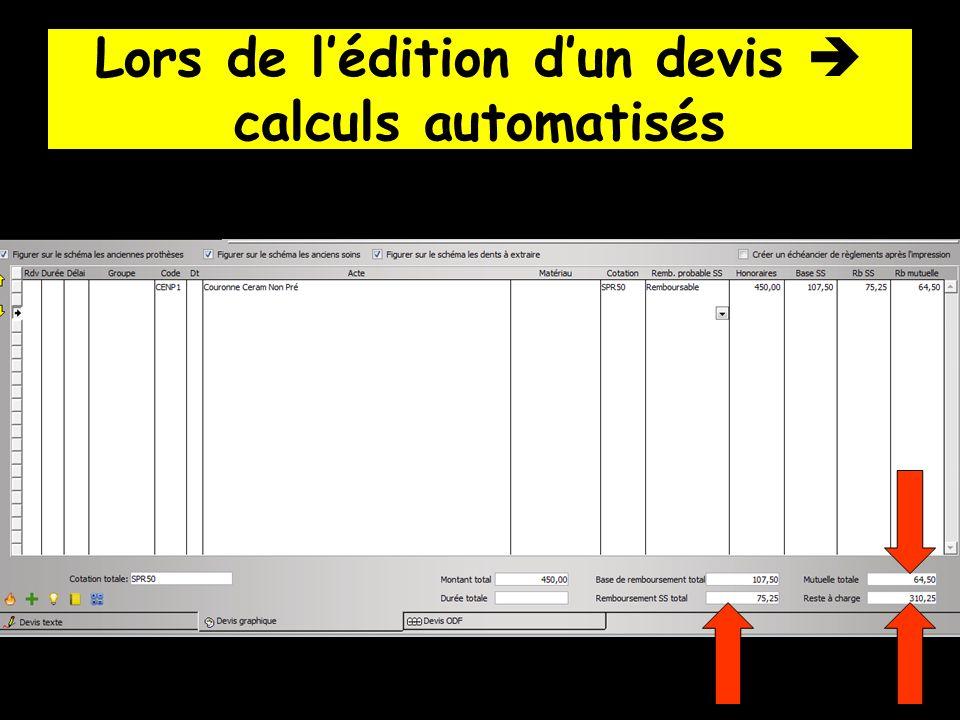 Lors de l'édition d'un devis  calculs automatisés