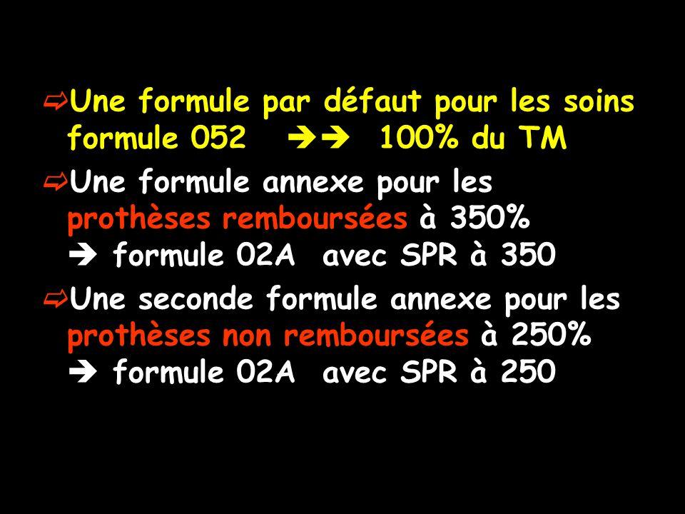 Une formule par défaut pour les soins formule 052  100% du TM