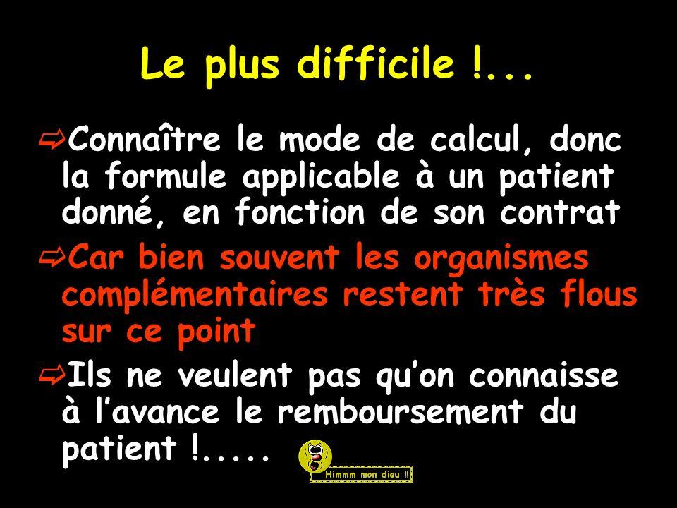 Le plus difficile !... Connaître le mode de calcul, donc la formule applicable à un patient donné, en fonction de son contrat.