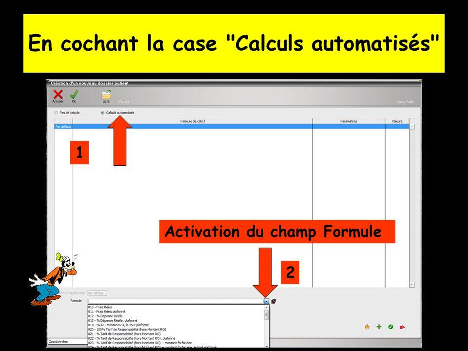 En cochant la case Calculs automatisés