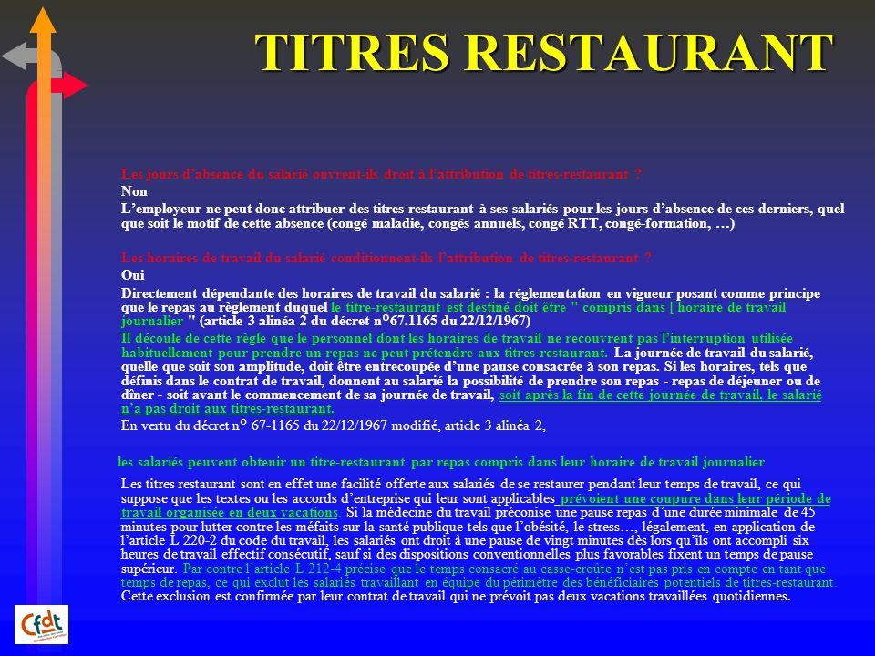 TITRES RESTAURANT Les jours d'absence du salarié ouvrent-ils droit à l'attribution de titres-restaurant