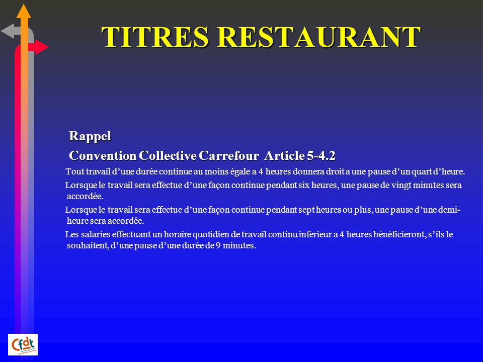 TITRES RESTAURANT Rappel Convention Collective Carrefour Article 5-4.2
