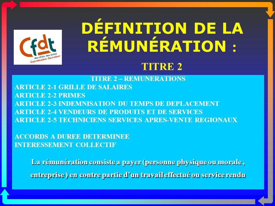 DÉFINITION DE LA RÉMUNÉRATION : TITRE 2