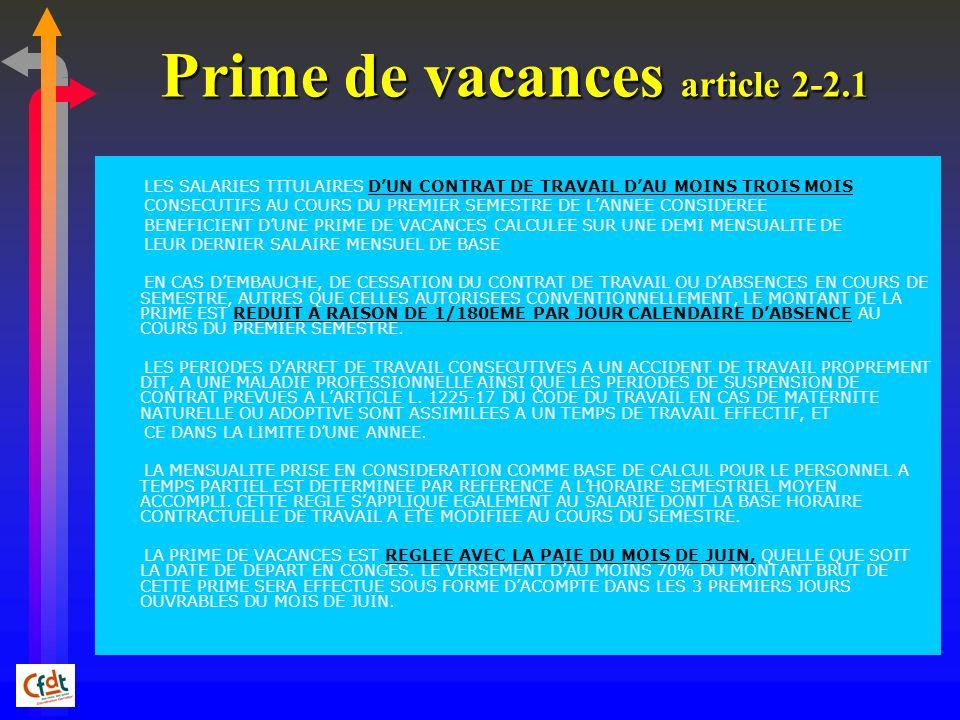 Prime de vacances article 2-2.1