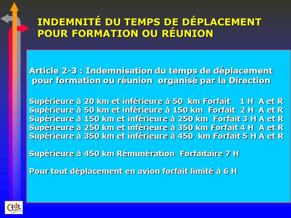 INDEMNITÉ DU TEMPS DE DÉPLACEMENT POUR FORMATION OU RÉUNION