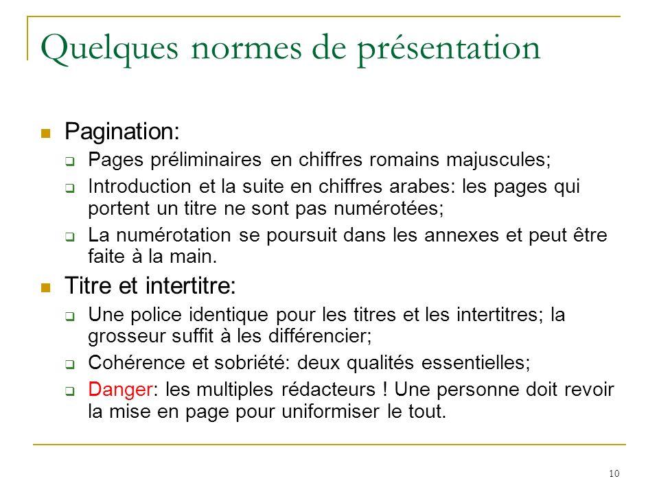Quelques normes de présentation