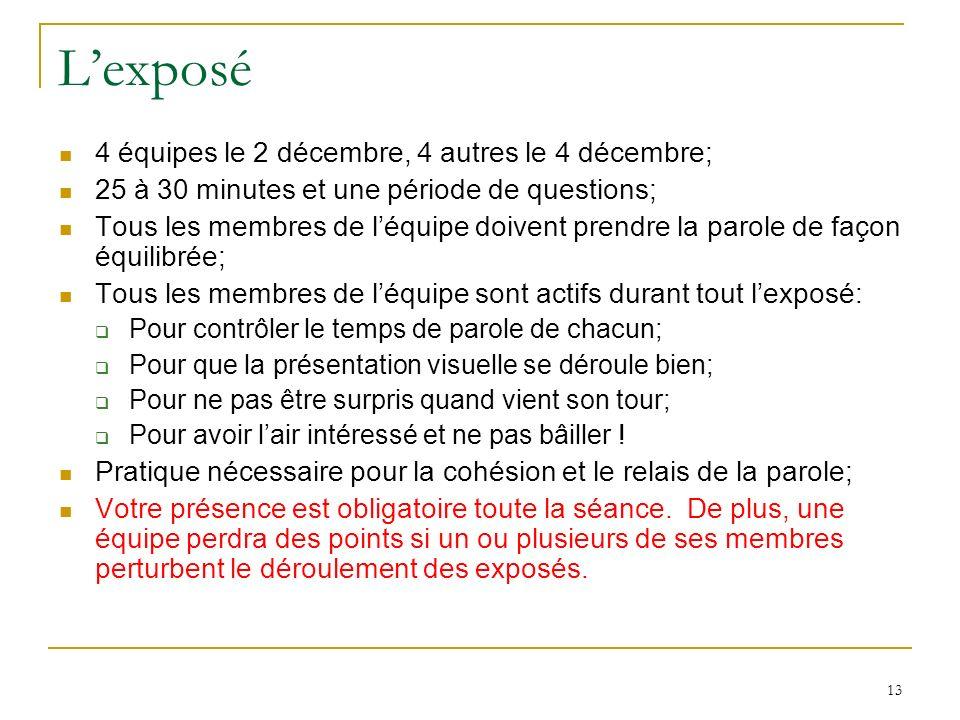 L'exposé 4 équipes le 2 décembre, 4 autres le 4 décembre;