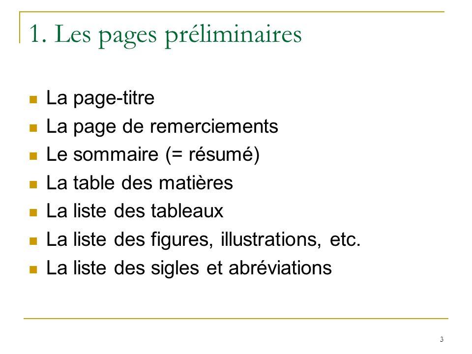 1. Les pages préliminaires