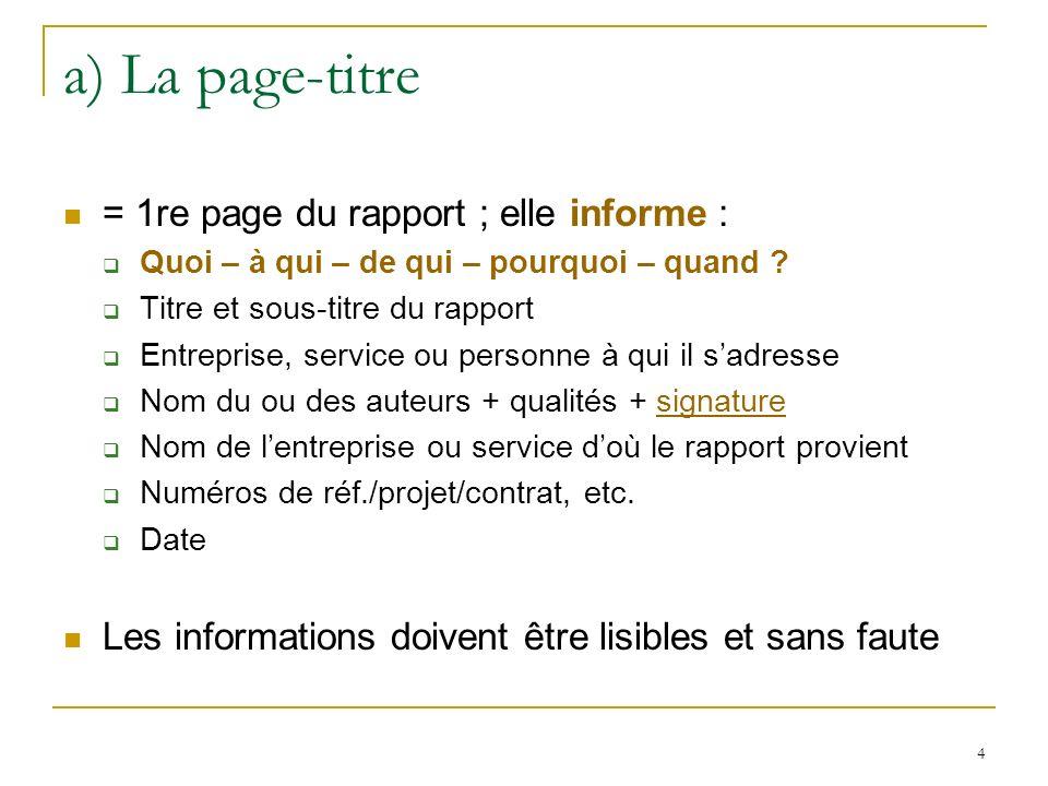 a) La page-titre = 1re page du rapport ; elle informe :