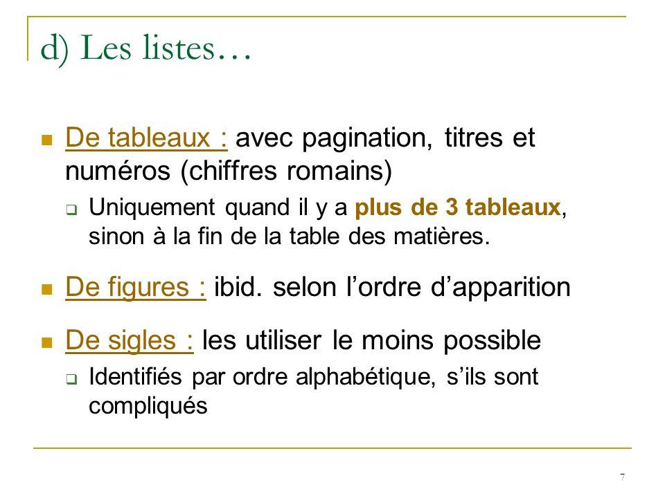 d) Les listes… De tableaux : avec pagination, titres et numéros (chiffres romains)