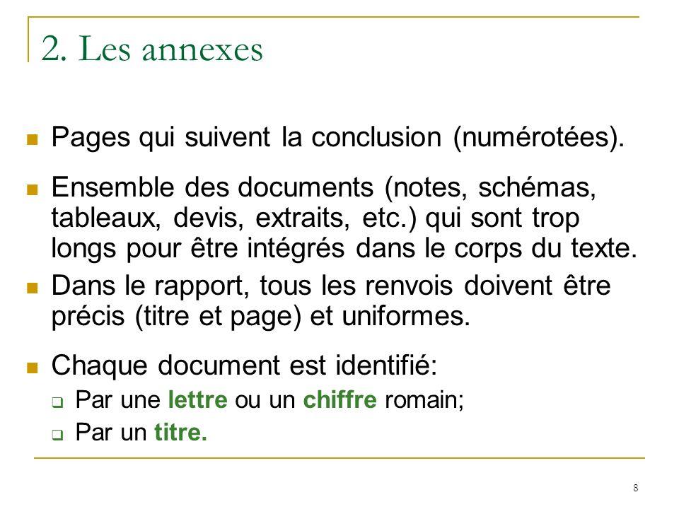 2. Les annexes Pages qui suivent la conclusion (numérotées).