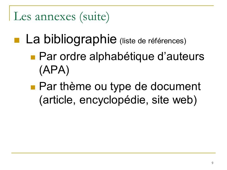 Les annexes (suite) La bibliographie (liste de références)