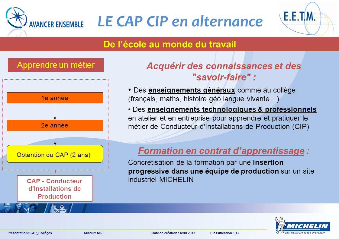 LE CAP CIP en alternance