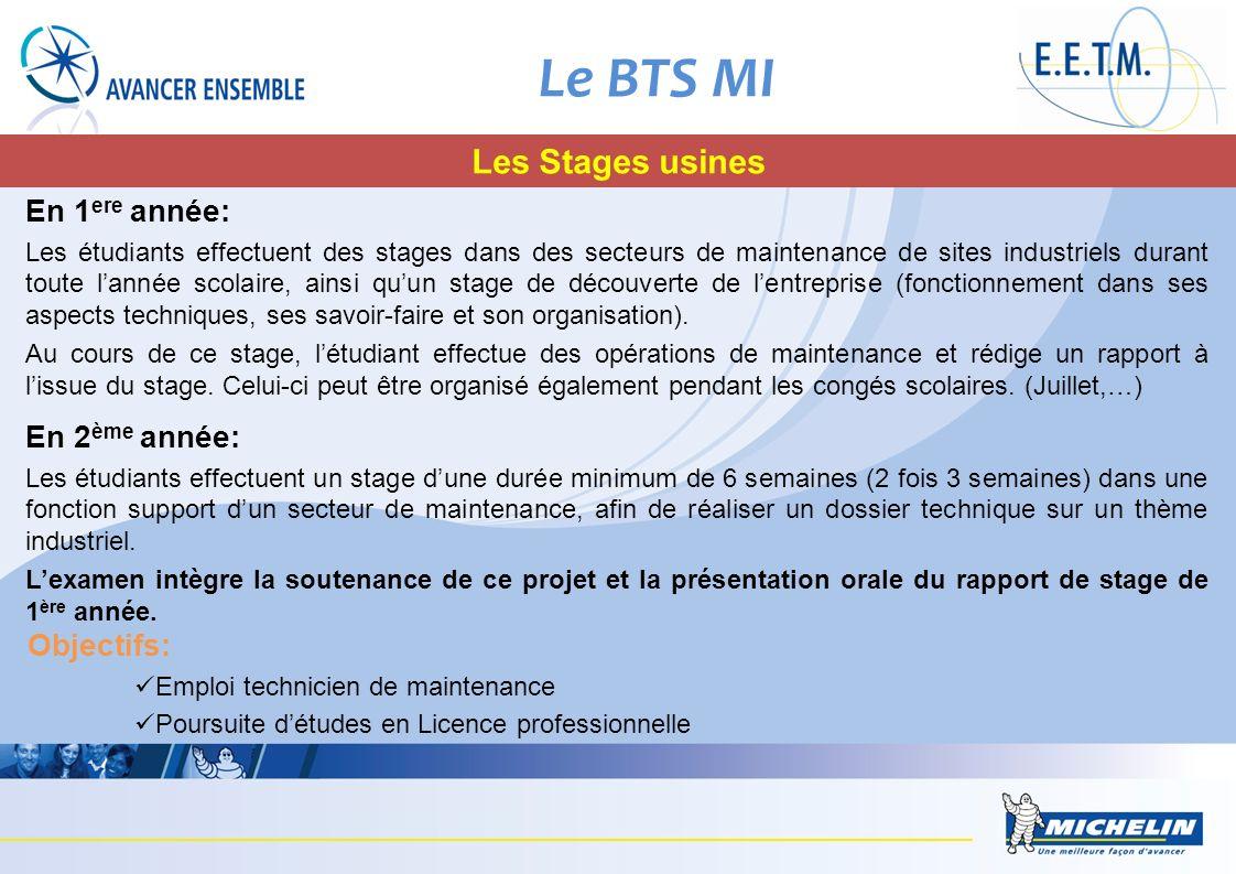 Le BTS MI Les Stages usines En 1ere année: En 2ème année: Objectifs: