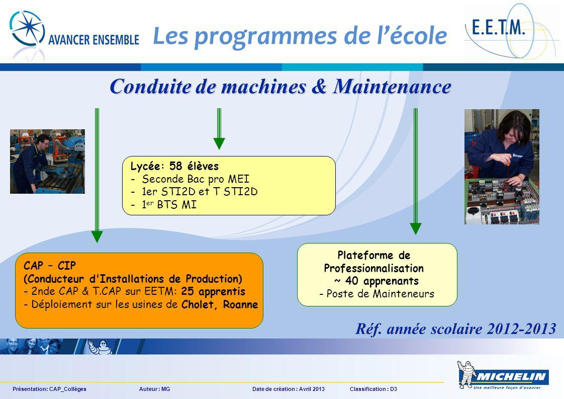 Les programmes de l'école Conduite de machines & Maintenance