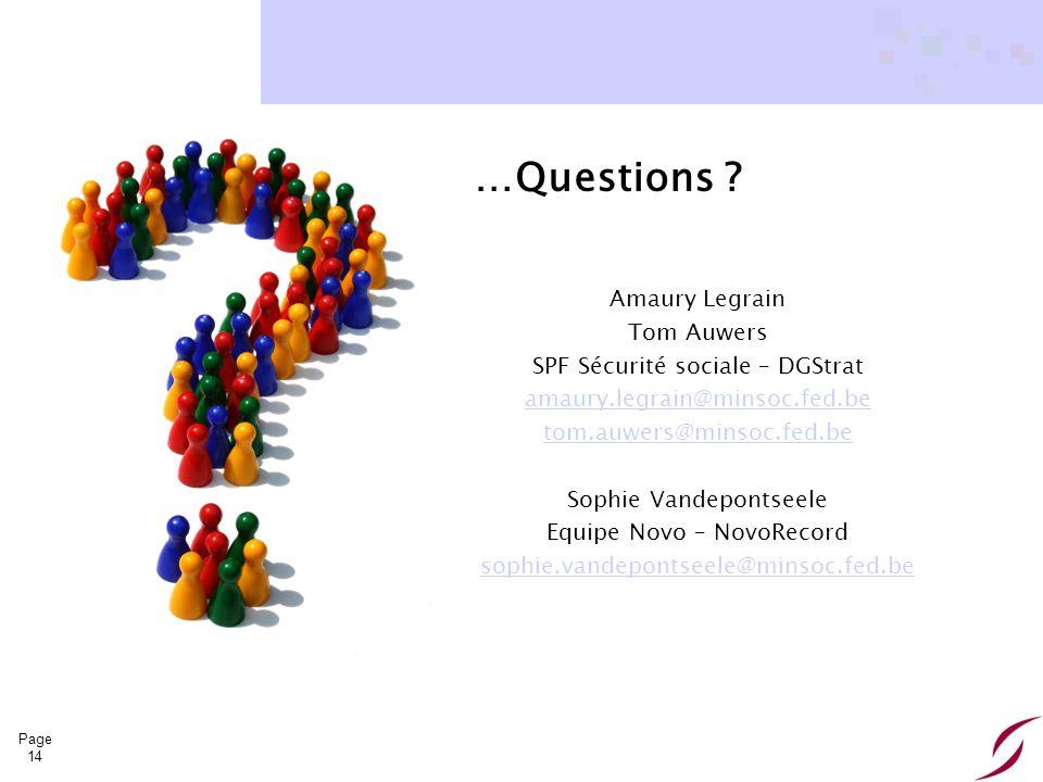 …Questions Amaury Legrain Tom Auwers SPF Sécurité sociale – DGStrat