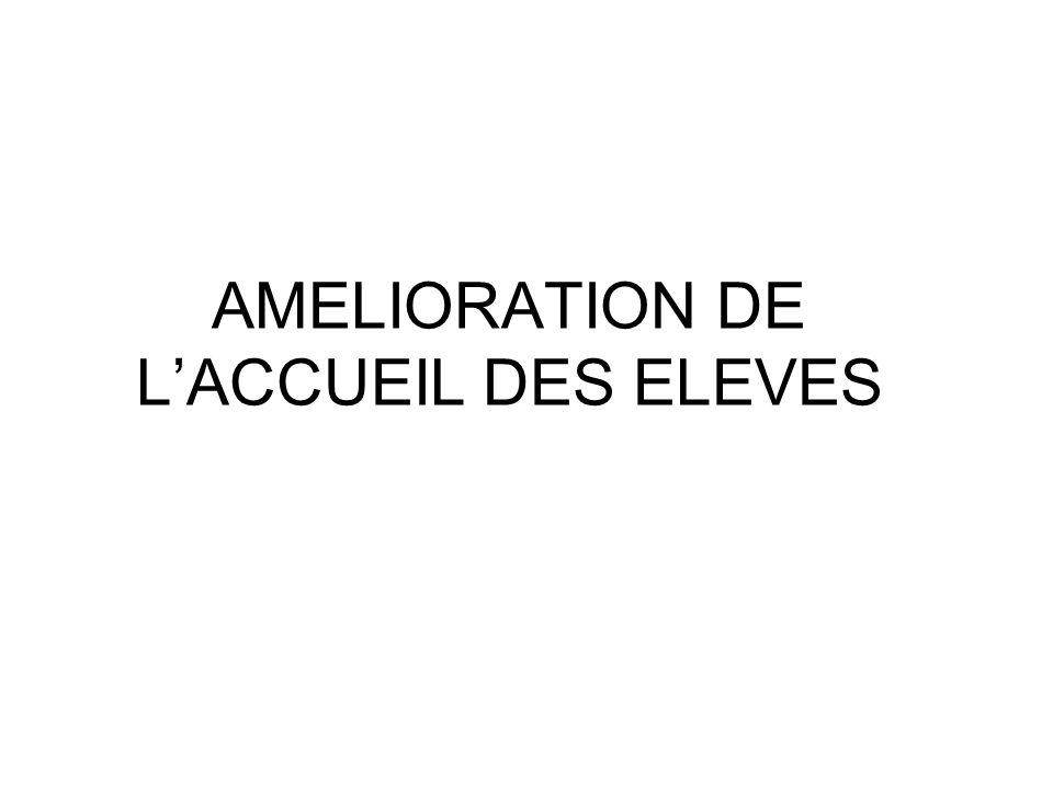 AMELIORATION DE L'ACCUEIL DES ELEVES