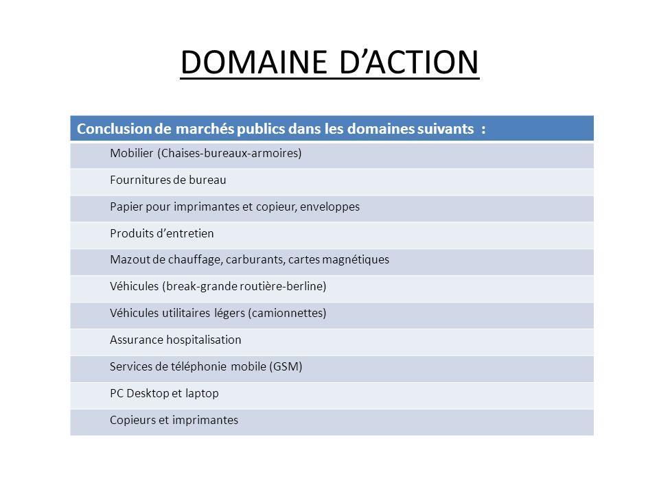 DOMAINE D'ACTION Conclusion de marchés publics dans les domaines suivants : Mobilier (Chaises-bureaux-armoires)