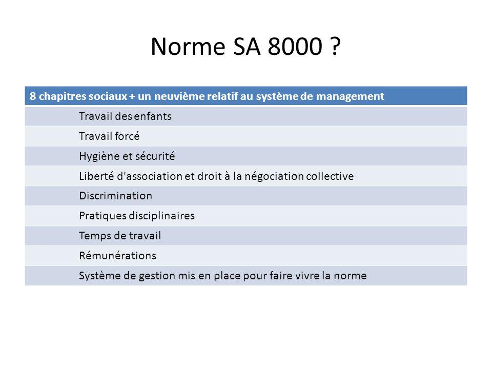 Norme SA 8000 8 chapitres sociaux + un neuvième relatif au système de management. Travail des enfants.