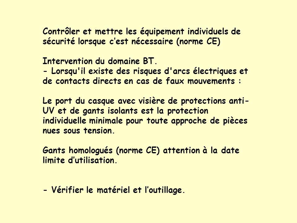 Contrôler et mettre les équipement individuels de sécurité lorsque c'est nécessaire (norme CE)