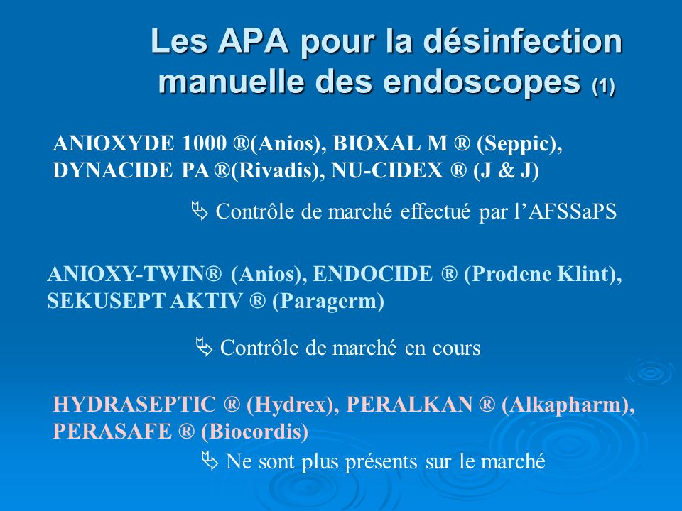 Les APA pour la désinfection manuelle des endoscopes (1)