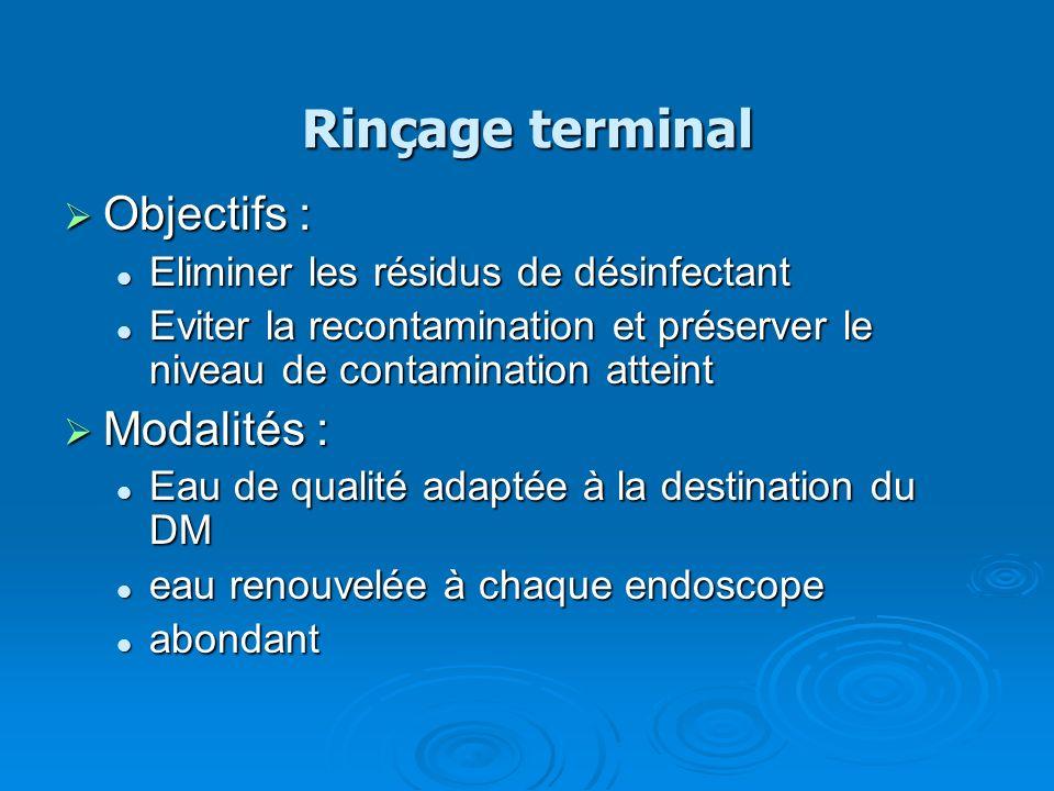 Rinçage terminal Objectifs : Modalités :
