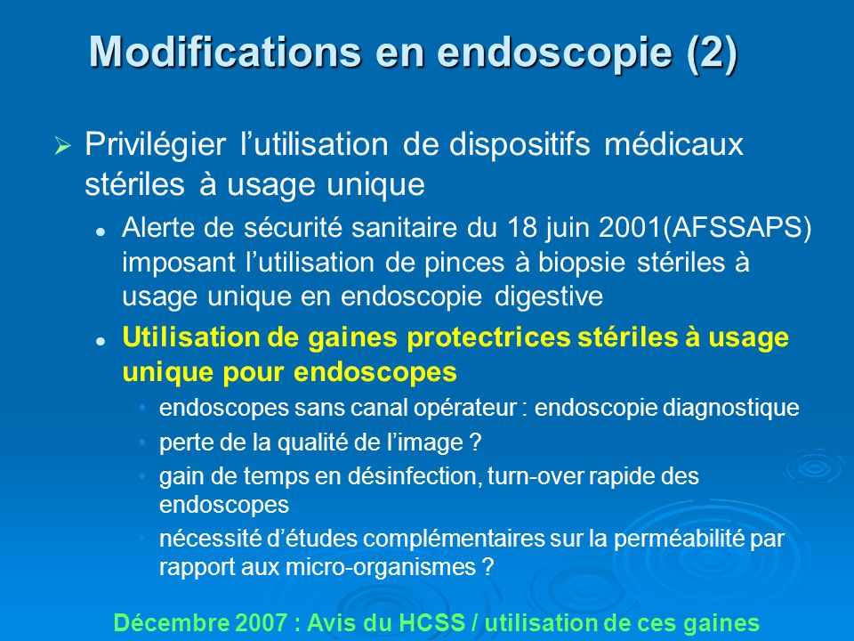 Modifications en endoscopie (2)