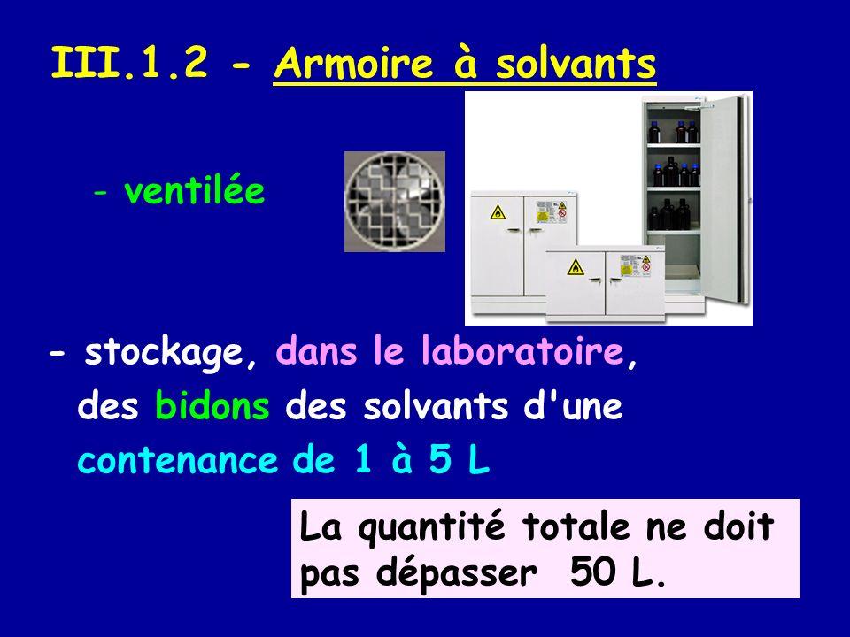 III.1.2 - Armoire à solvants