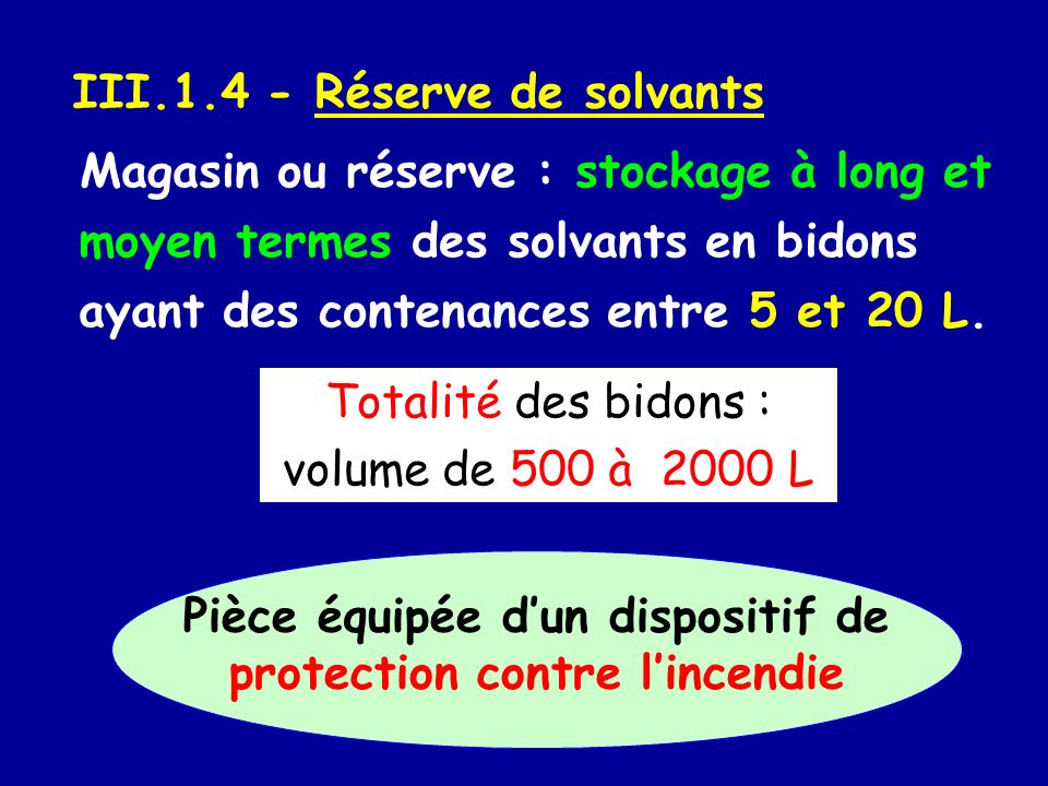III.1.4 - Réserve de solvants