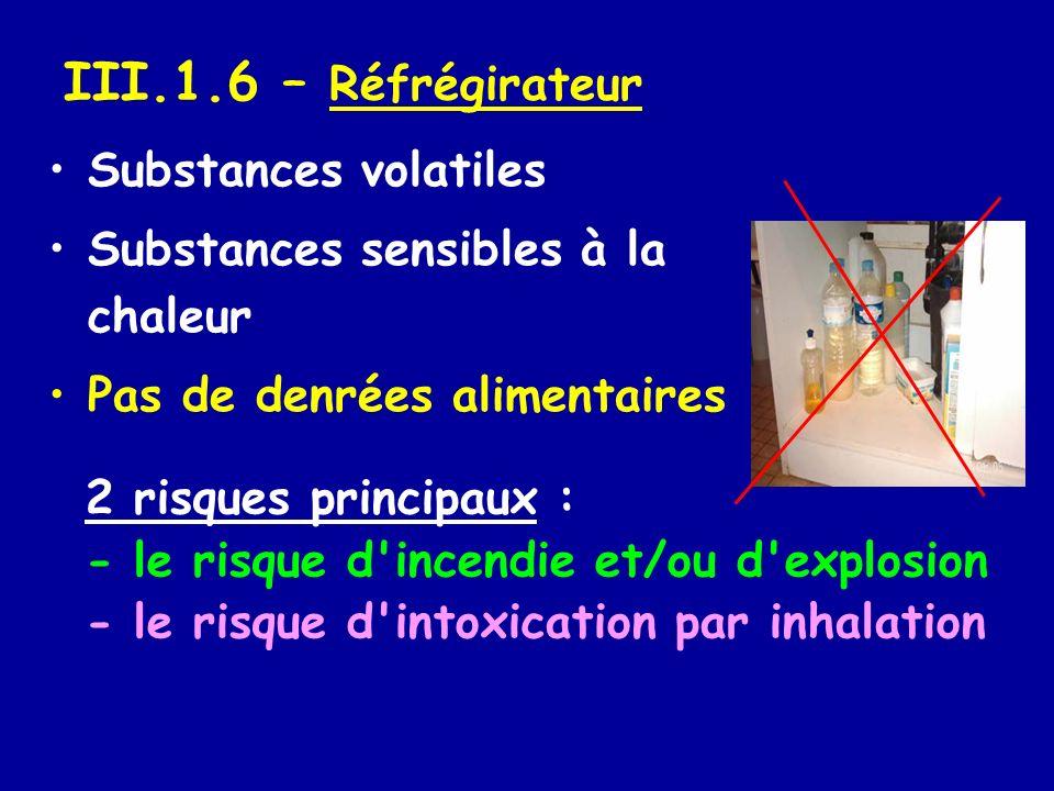 III.1.6 – Réfrégirateur Substances volatiles