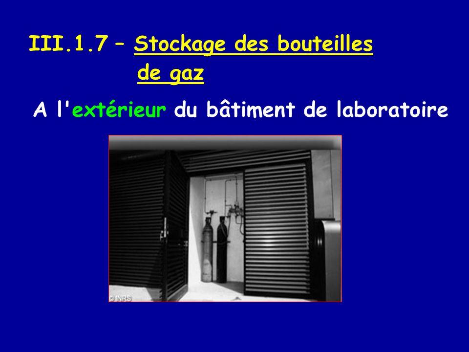 III.1.7 – Stockage des bouteilles de gaz