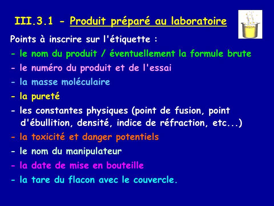 III.3.1 - Produit préparé au laboratoire