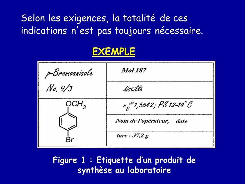 Figure 1 : Etiquette d'un produit de synthèse au laboratoire