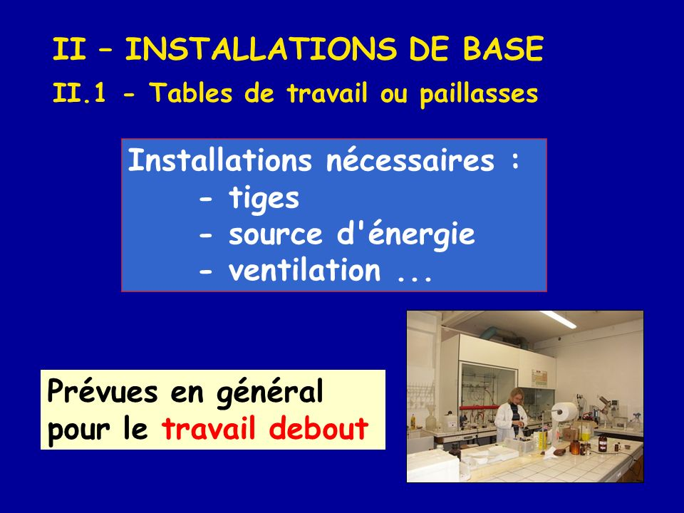 II – INSTALLATIONS DE BASE