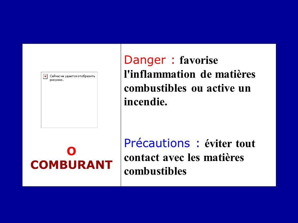 O COMBURANT Danger : favorise l inflammation de matières combustibles ou active un incendie.