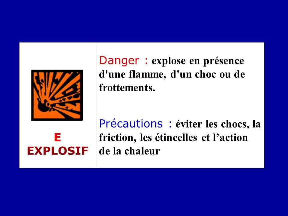E EXPLOSIF Danger : explose en présence d une flamme, d un choc ou de frottements.