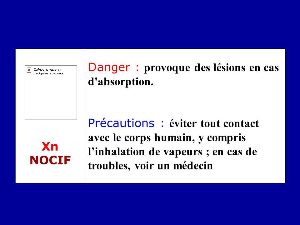 Xn NOCIF Danger : provoque des lésions en cas d absorption.