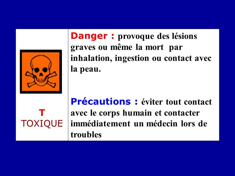 T TOXIQUE Danger : provoque des lésions graves ou même la mort par inhalation, ingestion ou contact avec la peau.