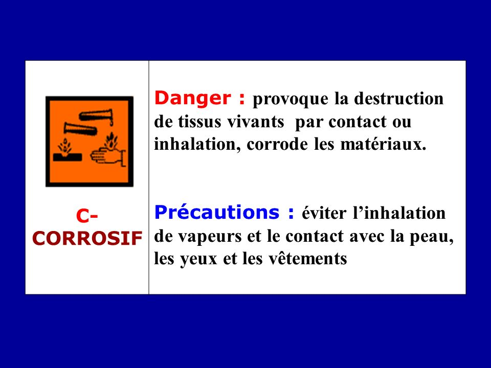 C- CORROSIF Danger : provoque la destruction de tissus vivants par contact ou inhalation, corrode les matériaux.