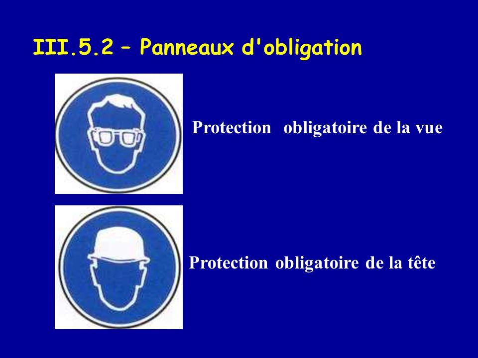 III.5.2 – Panneaux d obligation