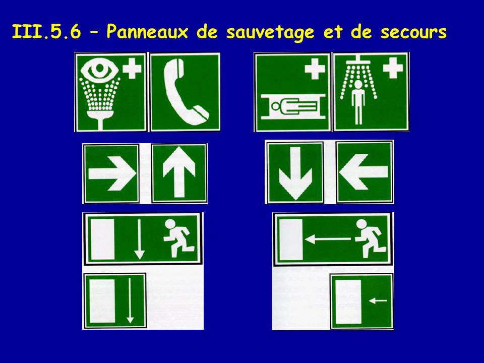 III.5.6 – Panneaux de sauvetage et de secours