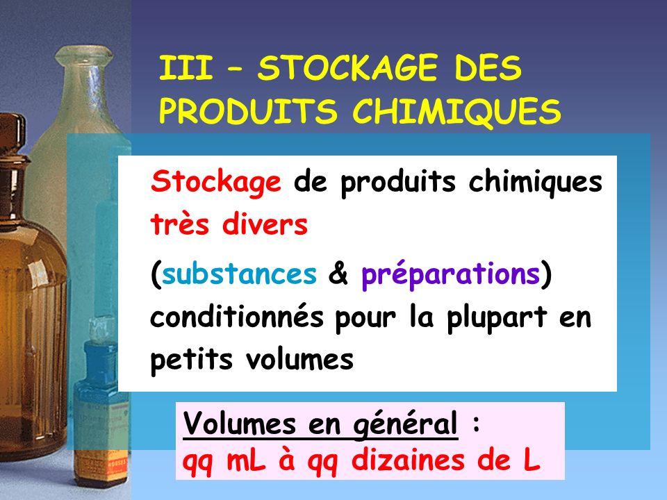 III – STOCKAGE DES PRODUITS CHIMIQUES