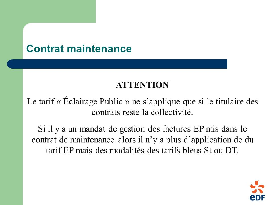 Contrat maintenance ATTENTION