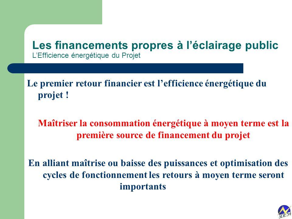 Les financements propres à l'éclairage public L'Efficience énergétique du Projet