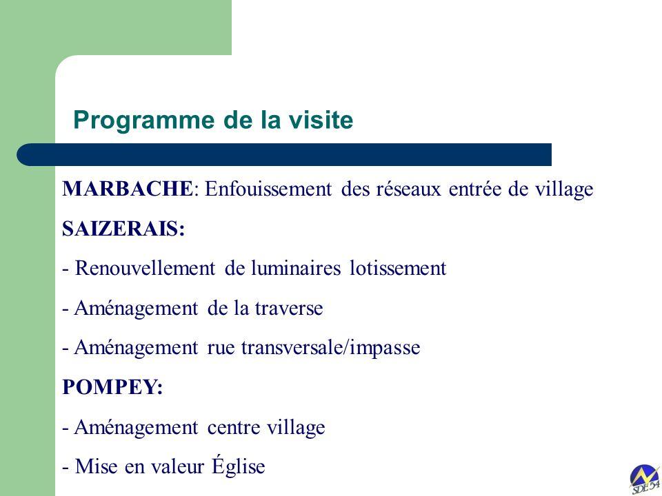Programme de la visite MARBACHE: Enfouissement des réseaux entrée de village. SAIZERAIS: - Renouvellement de luminaires lotissement.